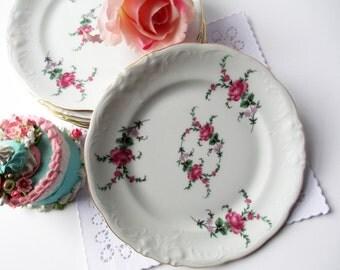 Vintage Dessert Plates Wawel Royal Kent Garden Rose Pink Floral Set of Six