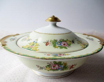 Vintage Serving Bowl Meito China Pink Blue Floral Covered Dish - Shabby Cute