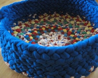New Ready To Ship Handmade Braided Fabric Basket / Bowl in Electric Blue from Recycled Fabrics by mrsginther