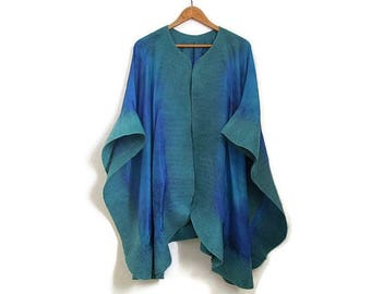 green blue silk poncho with felted edges
