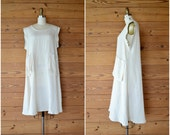 1990s cream modern tent dress / simple minimal white oversized dress / medium large xl