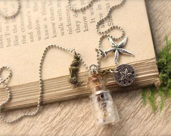 Mermaid Sand Starfish Shell Bottle Necklace