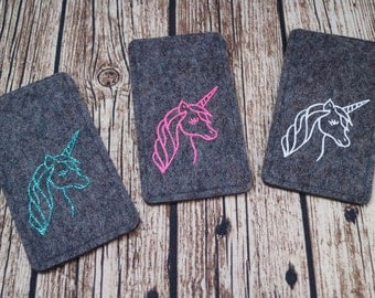Mobile phone Pocket made of felt with glittering Unicorn, made to measure for your Smartphone