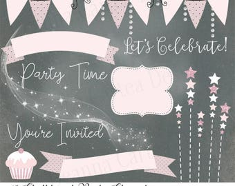 Chalkboard Clip Art, chalkboard Clipart, shabby chic banners, scrapbooking kit, party clipart, cu ok, png, clipart tags, star clipart