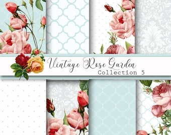 Digital Papers, Vintage Rose Papers, Shabby chic, Damask Papers, Wedding Paper, Floral Papers, scrapbooking paper, decoupage, card making