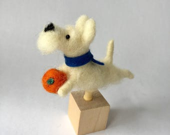 Needle Felted White Bearded Terrier on a Cube