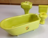 DOLLHOUSE FURNITURE fixture miniature bathtub sink toilet lime green with yellow flowers and greenery ***bathtub repaired***