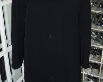 Vintage 50s 60s Rothmoor Black Wool Coat Crochet Buttons Imported Wool XXL 2XL