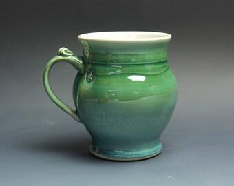 Pottery beer mug, ceramic mug, stoneware stein jade green 26 oz 3697