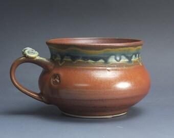 Handmade pottery soup mug ceramic chili mug cereal ice cream bowl iron red 20 oz 3777a