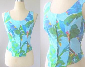 Vintage Tropical Hawaii Floral Tank Top | 80s 90s Aqau Blue Tie Shirt Blouse | Button Up Sleeveless Crop Top