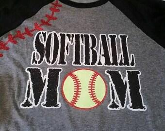 Softball Mom Shirt, Women's Softball Shirt. Baseball Shirt, Bling Baseball Mom Shirt, Softball Mom Tank, Softball Shirt, Softball Mom