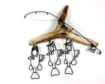 Bass Stringer and Fishing Rod Wire Sculpture, Bass Wire Art, Minimal Wire Sculpture,