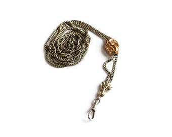 Antique Victorian Slide Chain 800 Silver With Rose Gold Slide c.1880s