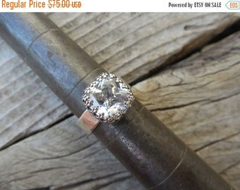 ON SALE CZ ring handmade in sterling silver
