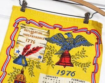 Vintage Calendar Tea Towel, Vintage Patriotic Calendar, Vintage Patriotic Tea Towel, Vintage Kitchen Towel, 1976 Calendar, Vintage Yellow