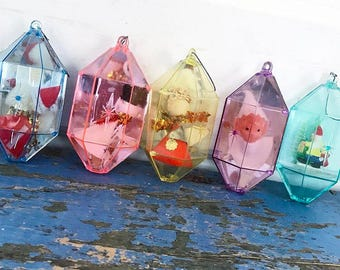 Vintage Jewelbrite Diorama Ornaments, Plastic Mirrored Ornaments, Spun Head Ornaments