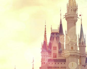 Cinderella Castle, Fine Art Photograph, Nursery, Decor, shabby Chic, childrens, castle, print, photo, art, whimsical, pink, yellow, Fantasy