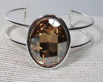 Swarovski Crystal Cuff Bracelet, Crystal Cuff Bracelet, Golden Shadow, Swarovski Crystal, Topaz, Crystal Bracelet, Crystal Bangle, Silver