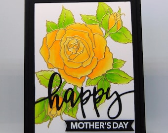Yellow Rose Mother's Day Card