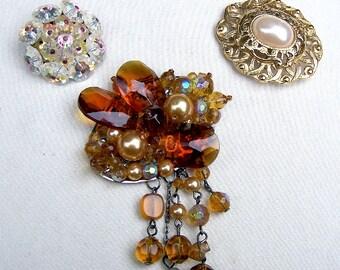 3 1980s brooches vintage jewelry beaded dangle brooch faux pearl pin Hollywood Regency Destash repurpose AS FOUND (AAI)