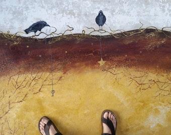 Shiny Things Ravens- Floorcloth-Salt Spring Island Floor Art