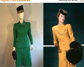ANNIVERSARY SALE Her Fashionable War - Vintage 1940s WW2 Rothmoor Emerald Green Wool Gabardine Suit -