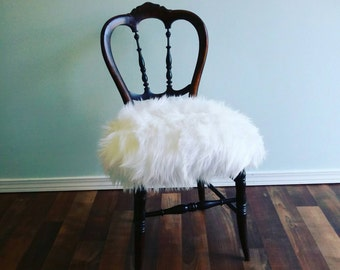 Vintage Boudoir Chair Faux Fur | French Provençal-Style | Stunning Regency Glamo,Chair / Vanity Stool - Glam White Fur Seat, ur