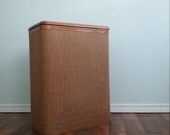 1970s redmon,  hamper landry bin,  wood hamper, rattan basket, laundry baslet, clothes hamper