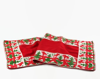 Vintage Christmas Table Runner, Scandinavian Christmas Decor, Christmas Table Linen