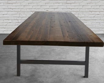 """Reclaimed wood confernce table in standard 1.65"""" top reclaimed wood and steel legs in your choice of color, size and finish"""