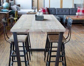 High Top Table/Bistro Table/Restaurant Table/Pub Table with reclaimed wood top and steel legs in your choice of color, size and finish