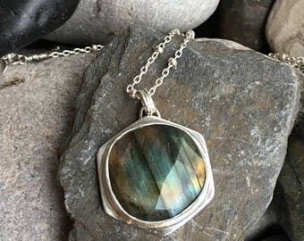 Faceted Labradorite set in hexagon geometric pendant with leaf drop sterling silver necklace adjustable 18-20 inch necklace