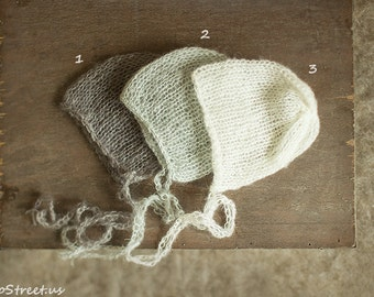 Baby Mohair Hat, Baby Hat, Baby Bonnet, Beanie, Newborn Hat, Ivory Hat, Gray, Natural, Baby Photo Prop, Newborn Props, Baby Props,, RTS