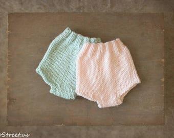 Newborn Shorts, Baby Pants, Diaper Cover, Newborn Props, Baby Props, Pink, Aqua Pants, RTS, Natural Props, Baby Boy,  Twin, Baby Girl
