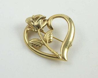 Princess Diana Memorial Fund, Rose and Heart Brooch, Memorial Pin, R.D.C