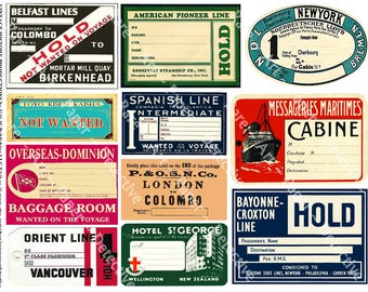 Steamship Luggage Labels - 5 Digital Sheets, 56 Logos and Baggage Labels, Steamship Travel Trunk, Travel Luggage Labels, Clip Art Paper Pack