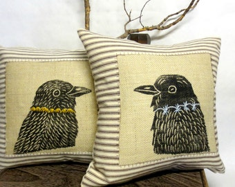 Raven Crow Printed Pillow