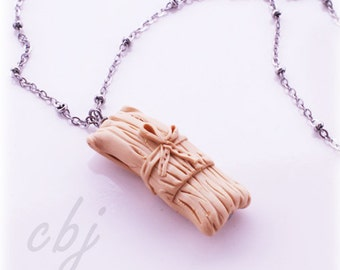 Tamale Necklace, Polymer Clay tamale pendant neckace