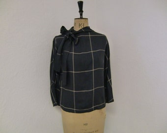 Grey Check Blouse 1950's Style with Tie ...Small and Medium