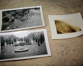 Vintage Paris France Tourist Snapshots Lot of 3 Old Paris France Photographs Eiffel Tower Eternal Flame Arch de Triomphe Photo Lot Old Paris