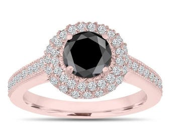 ON SALE Double Halo Black Diamond Engagement Ring 14K Rose Gold 1.66 Carat Pave Certified Unique