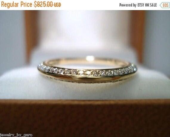 ON SALE 14K Yellow Gold  Wedding & Anniversary Diamond  Band 0.27 Carat Stackable Micro Pave Set handmade petite ring
