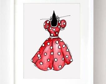 Minnie Dress Disney Sketch Watercolor - Fine Art Sketch Print