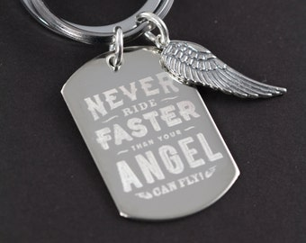 Personalized Guardian Angel Motorcycle Gift Key Ring, Wing Charm,  Keychain
