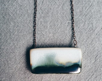 DARK WAVE - A unique modern porcelain necklace inspired by images of the sea.  Handmade ceramic jewelry.