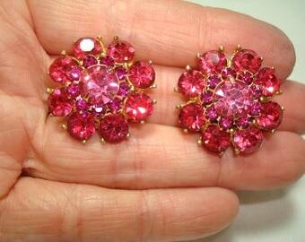 1960s Fuchsia Pink Sparkling Jeweled Like Earrings.