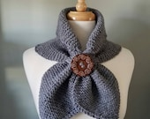 Scarf, Neckwrap, peruvian wool, choice of colors, stays in place, decorative extra wood large button, made to order, soft and super light!