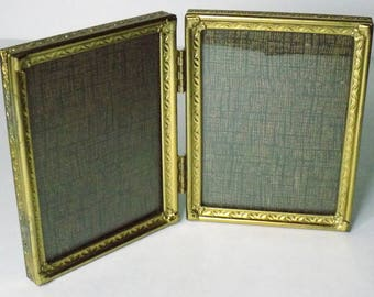 """Vintage 3.75""""x2.75"""" Folding Brass Picture Frame, Metal, Glass Covered, Holds Two Photos, Ornate Design"""