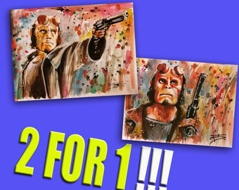 Buy 2 for 1, Two Hellboy prints, movie posters print, comic art, comics print, home decor, wall art, painting, superheros, Hellboy prints